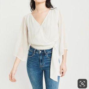 Abercrombie White Wrap Tie Front Blouse Size M